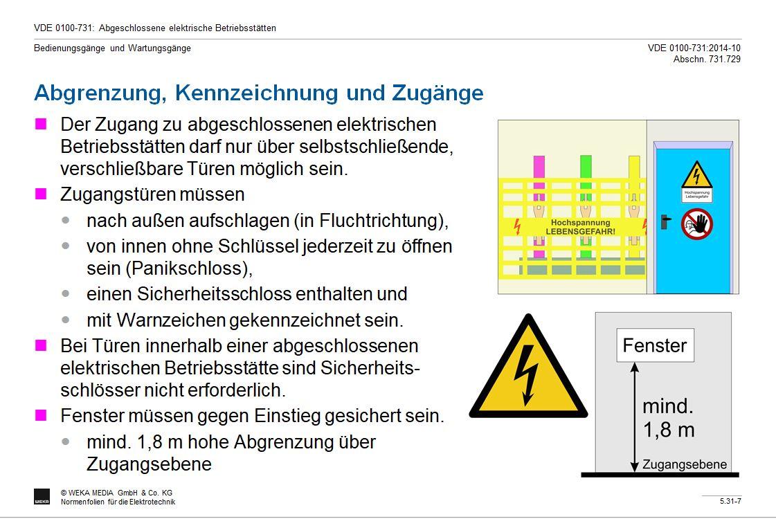 DIN VDE 0100-731: Abgeschlossene elektrische Betriebsstätten