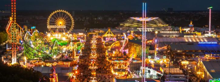 View of the Oktoberfest in Munich at night.