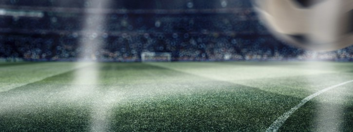 Dramatic soccer stadium with ball