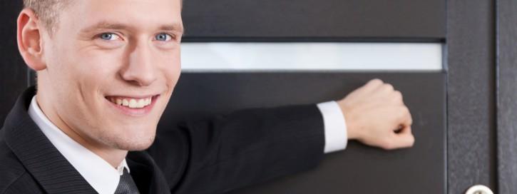 Portrait of door-to-door salesman