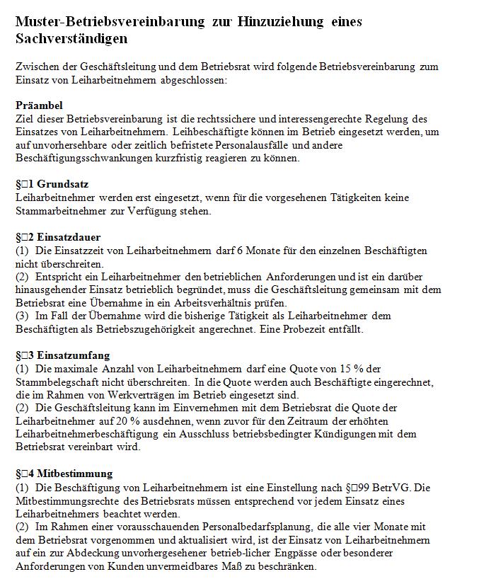 muster betriebsvereinbarung einsatz von leiharbeitnehmern - Muster Betriebsvereinbarung