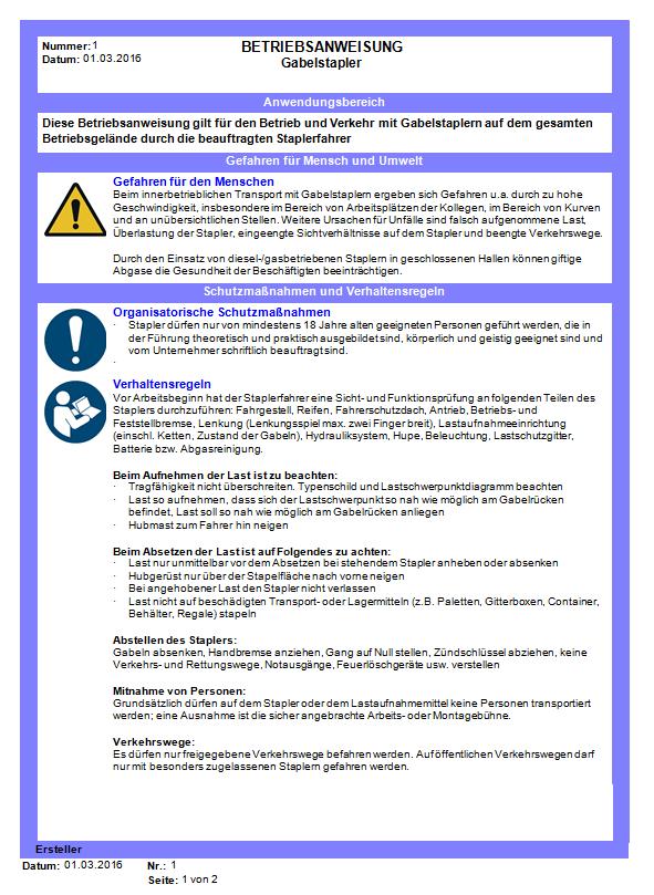 muster betriebsanweisung gabelstapler - Muster Betriebsanweisung