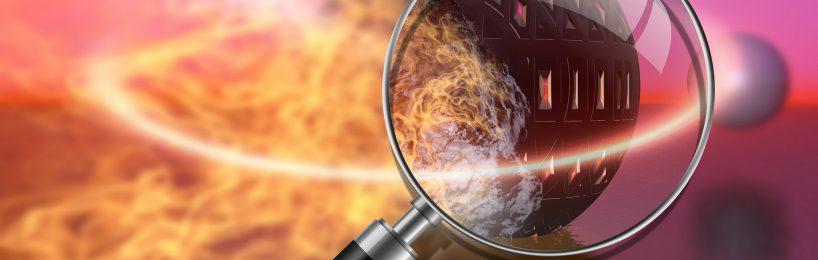 Brandursache erforschen: Brand und Lupe