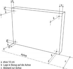Prüfung der Lage eines Bauteils im Grundriss bezüglich einer Achse