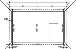 Messpunkte für die Prüfung von lichten Maßen im Aufriss