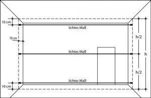 Messpunkte für die Prüfung von lichten Maßen im Grundriss