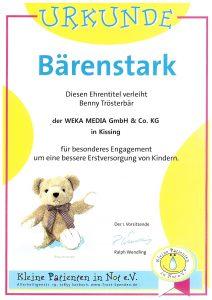 """WEKA MEDIA erhält Ehrentitel """"Bärenstark"""" vom Verein """"Kleine Patienten in Not e.V."""""""
