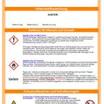 Betriebsanweisung Gefahrstoffe: Betriebsanweisung Aceton