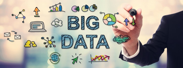 Businessman drawing Big Data concept on blurred abstract background