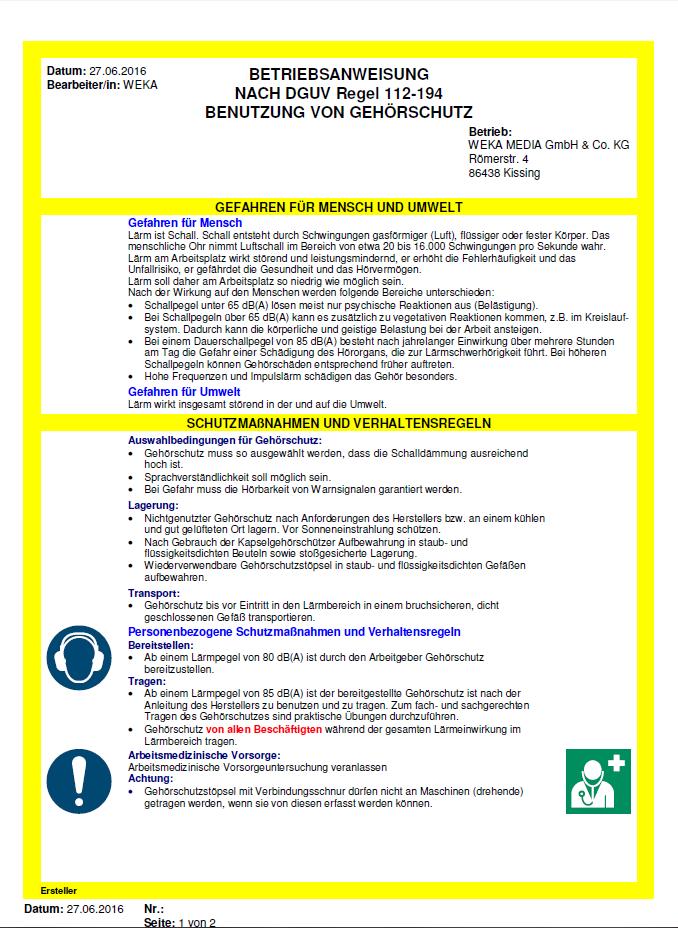 betriebsanweisung gehrschutz - Muster Betriebsanweisung