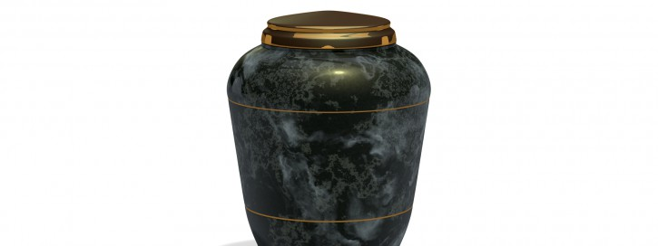 3d render onyx stone funeral urn isolated on white background