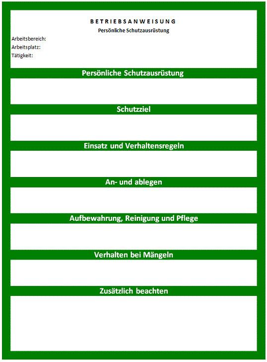 Vorlage Muster für Betriebsanweisung für PSA