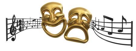 Masken und Musiknoten