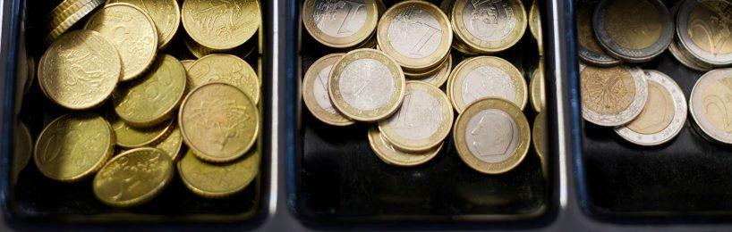 Kassenschublade mit Kleingeld