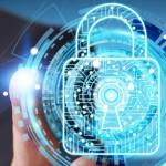 Datenschutz, Schloss vor vitueller Datenwelt