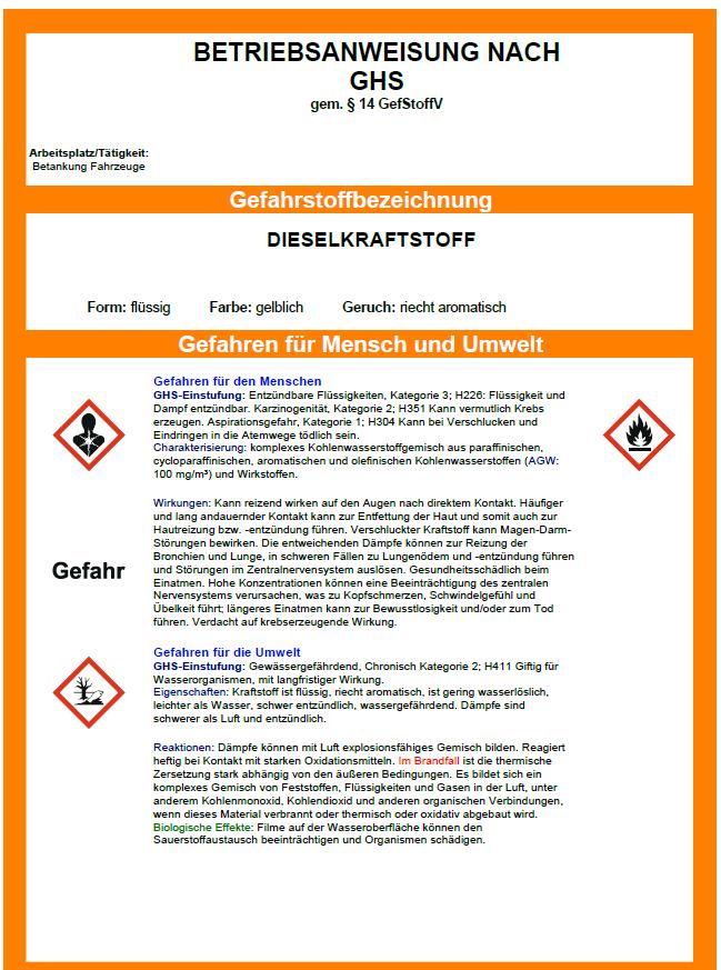 muster betriebsanweisung diesel - Muster Betriebsanweisung