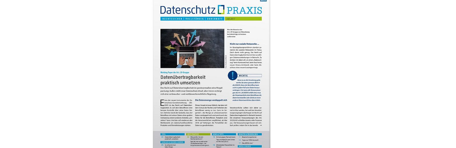 Modern, strukturiert, frisch: Datenschutz PRAXIS im neuen Outfit