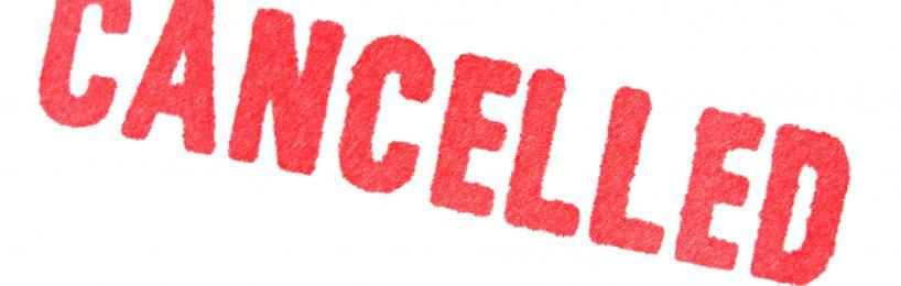 Schriftzug cancelled