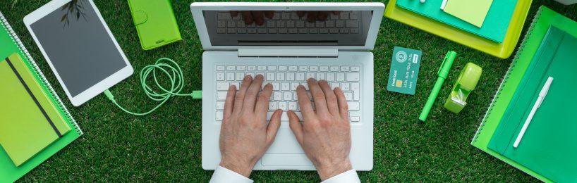 Laptop auf Rasen