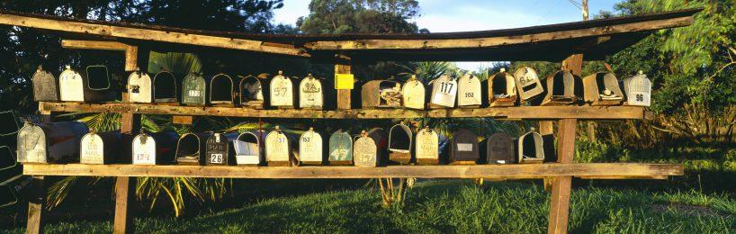 Eine Reihe von Briefkästen