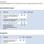 Checkliste organisatorische und technische Prozesse