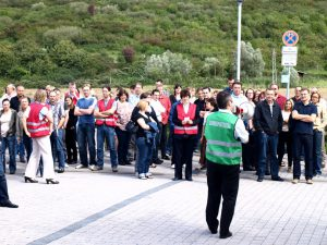 Betriebliche Notfallkräfte am Sammelplatz