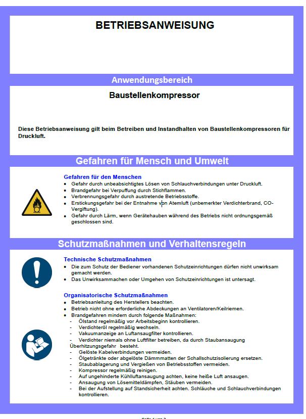 muster betriebsanweisung kompressor - Muster Betriebsanweisung
