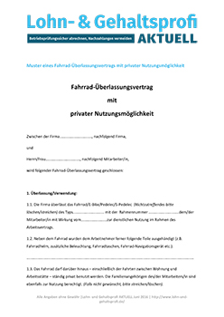 Download Mustervertrag Überlassung Dienstrad