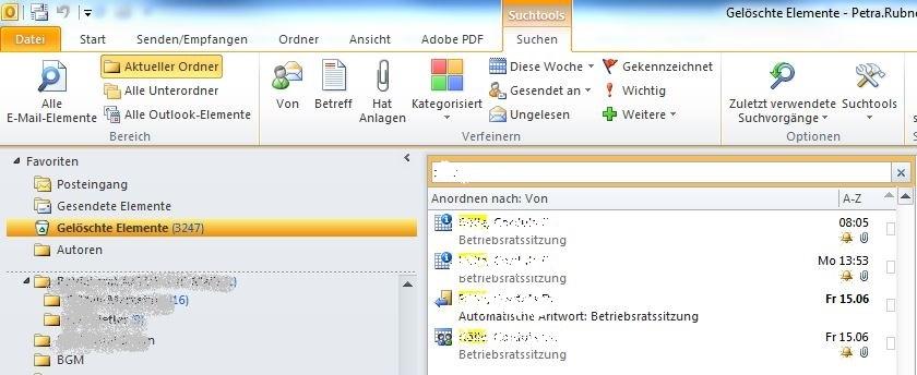 """Ein Betriebsrat sollte den Ordner """"Gelösche Elemente"""" in Outlook immer leeren."""