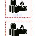 Lithium-Batterie: Kennzeichen mit UN-Nummer und Telefonnummer