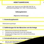 Arbeitsanweisung AuS DIN-VDE 0105-100 Niederspannungsanlage