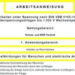 """Gratis-Download: Arbeitsanweisung """"Arbeiten unter Spannung nach DIN VDE 0105-100 an Niederspannungsanlagen bis 1.000 V Wechselspannung"""""""