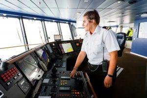 Kapitänin an Bord