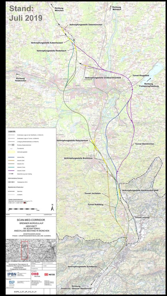 Geographische Darstellung der möglichen Nordzulauf-Routen