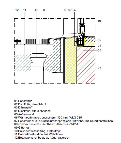 Turbo CAD-Detail Barrierefreier Fenstertüranschluss Laubengang ZZ99