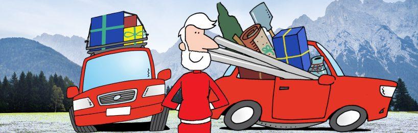 Der Weihnachtsmann muss bei seiner Ladungssicherung dazu lernen.