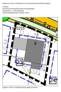 Baugenehmigung - Auszug Bauantrag Ausnahme