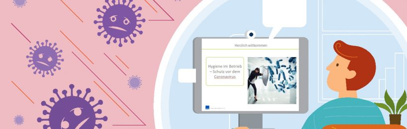 Mitarbeiterin absolviert eine Hygieneunterweisung und schützt sich vor dem Coronavirus