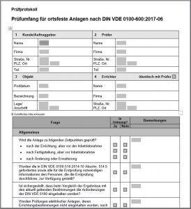 Prüfprotokoll für Elektroprüfungen nach DIN VDE 0100-600
