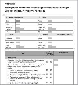 Prüfprotokoll für Elektroprüfungen nach DIN EN 60204-1