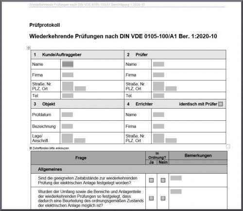 Vorschau auf ein Prüfprotokoll nach DIN VDE 0105-100