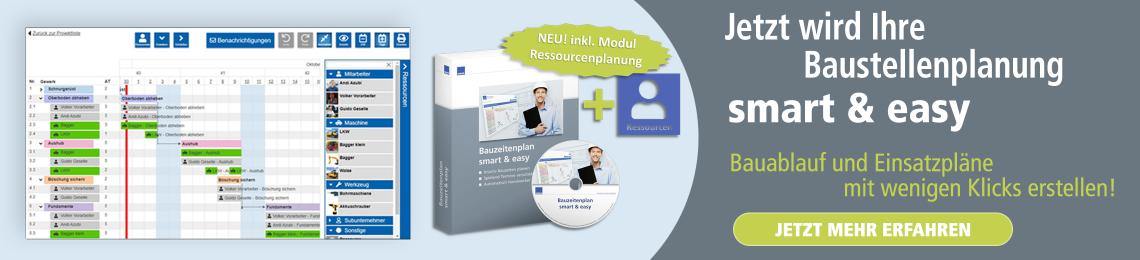 Bauzeitenplan smart & easy inkl. Ressourcenplanung