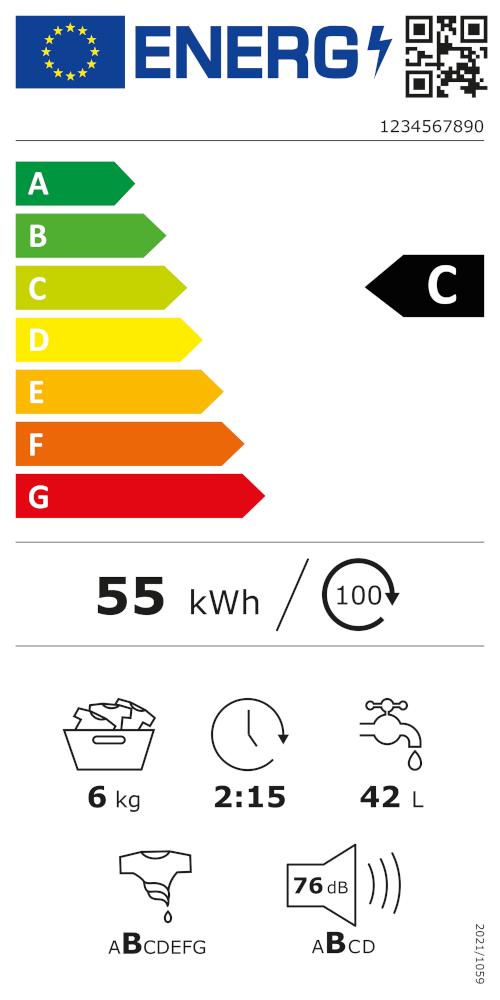 Das neue EU-Energielabel, hier ein Beispiel für eine Waschmaschine.