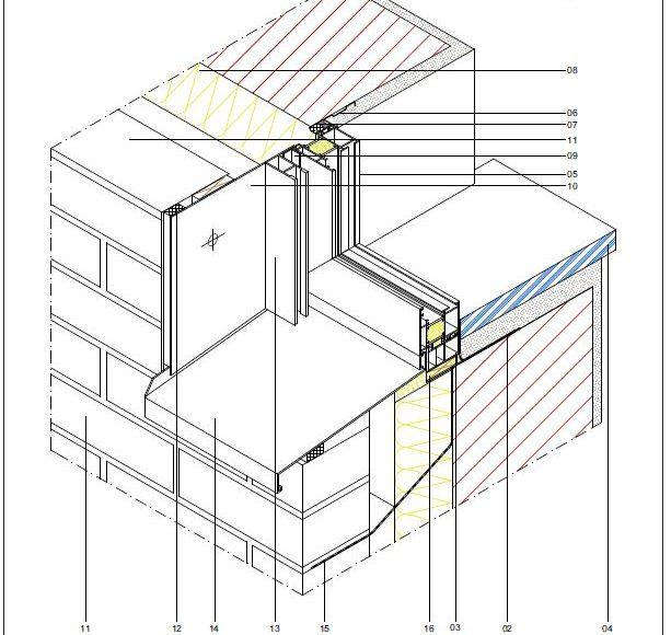 CAD-Detail: Fenster Alu mit Vorbaurollladen